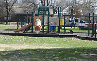 NWA Democrat-Gazette/J.T. WAMPLER Children play Monday March 19, 2018 at Luther George Park in Springdale. The park, located near downtown, features pavilions, exercise equipment, playgrounds, a skate park and open grass areas.