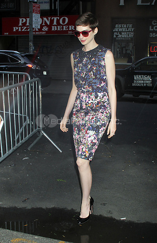 July 12, 2012 Anne Hathaway arrives at NBC's Today Show in New York City. © RW/MediaPunch Inc.
