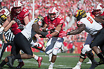 Wisconsin Badgers running back Jonathan Taylor (23) carries the ball during an NCAA Big Ten Conference football game against the Maryland Terrapins Saturday, October 21, 2017, in Madison, Wis. The Badgers won 38-13. (Photo by David Stluka)