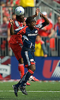 23 May 09: Toronto FC defender Nana Attakora-Gyan #3 and New England Revolution midfielder Shalrie Joseph #21 in action during a game between the New England Revolution and Toronto FC..Toronto FC won 3-1.