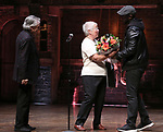 eduHAM, Luis Miranda and Donald Webber present a retirement gift to Chancellor of NYC Department of Education Carmen Farina from the cast of Broadway's 'Hamilton' at The Richard Rodgers Theatre on April 25, 2018 in New York City.