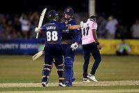Simon Harmer and Adam Zampa of Essex celebrate victory during Essex Eagles vs Middlesex, Vitality Blast T20 Cricket at The Cloudfm County Ground on 6th July 2018