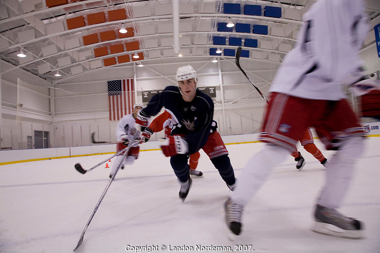 NEW YORK - DEC 13: The New York Rangers professional ice hockey team conducts practice on Thursday, December 13, 2007, in Tarrytown, New York. Brandon Dubinsky skates up the ice during a drill.  Their home games are played at Madison Square Garden in New York City. (Photo by Landon Nordeman)..