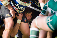 Elliott Stooke of Bath Rugby looks on at a scrum. Aviva Premiership match, between Bath Rugby and London Irish on May 5, 2018 at the Recreation Ground in Bath, England. Photo by: Patrick Khachfe / Onside Images