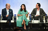 """BEVERLY HILLS - AUGUST 1: Rob Corddry, Michaela Watkins, Walton Goggins onstage during the """"The Unicorn"""" panel at the CBS portion of the Summer 2019 TCA Press Tour at the Beverly Hilton on August 1, 2019 in Los Angeles, California. (Photo by Frank Micelotta/PictureGroup)"""