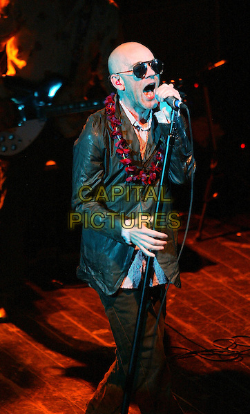 REM - MICHAEL STIPE.In Tivoli, Holland. The first show of the world tour 2003. It was the first show in Holland in 14 years..Juny 21st, 2003.Ref: SH.stage concert live gig performance music singing full length.www.capitalpictures.com.sales@capitalpictures.com.©Capital Pictures