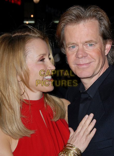 "FELICITY HUFFMAN & WILLIAM H. MACY.attends The Touchstone Pictures' World Premiere of ""Wild Hogs"" held at The El Capitan Theatre in Hollywood, California, USA, February 27 2007. .portrait headshot red dress married couple.CAP/DVS.©Debbie VanStory/Capital Pictures"
