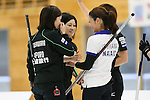 (L to R) Ayumi Ogasawara, Yumie Funayama,(Fortius), Miyo Ichikawa (Chuden), SEPTEMBER 17, 2013 - Curling : Olympic qualifying Japan Curling Championships Women's Final forth Mach between Fortius 8-5 Chuden at Dogin Curling Studium, Sapporo, Hokkaido, Japan. (Photo by Yusuke Nakanishi/AFLO SPORT)
