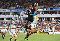 David Fusitua goes over the top of Phillip Smai to score a try. NRL Premiership. Vodafone Warriors v Gold Coast Titans. Mt Smart Stadium, Auckland, New Zealand. March 17 2018. © Copyright photo: Andrew Cornaga / www.Photosport.nz