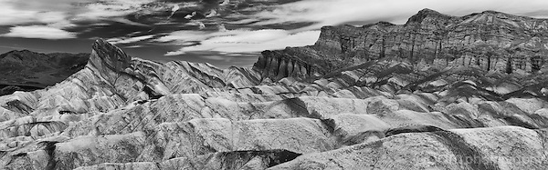 Black and white infrared panoramic of Zabriskie Point in Death Valley.  Includes the Manly Beacon and the Red Cathedral.