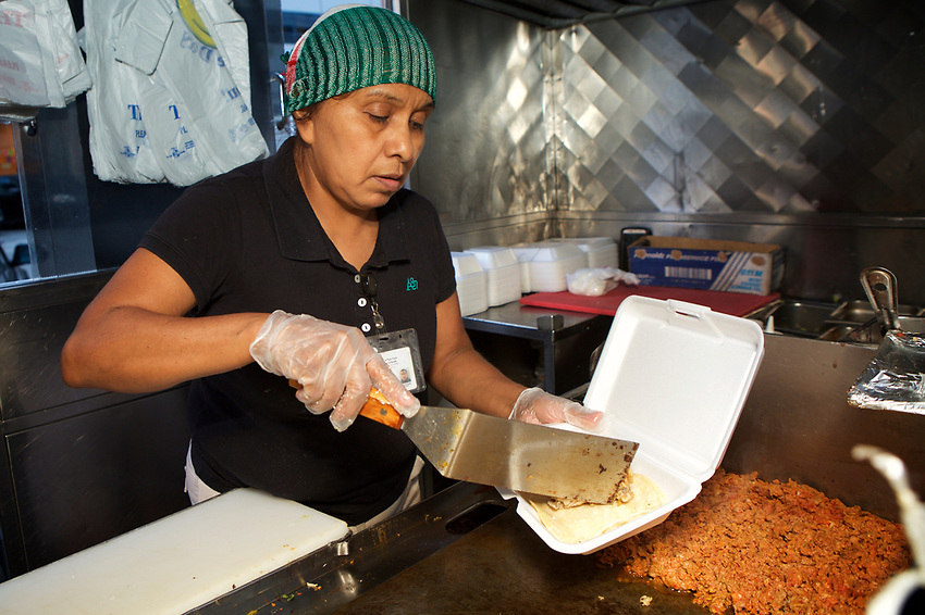 New York, NY - September 7, 2017: Ofelia Cardoso of El Rey del Sabor will be competing in the 'Bad Hombres' category at the 2017 Vendy Awards.<br /> <br /> Credit: Clay Williams for Gothamist.<br /> <br /> &copy; Clay Williams / http://claywilliamsphoto.com