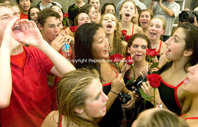 CHESHIRE, CT-- 15 OCTOBER 2007--101507JS11-Cheshire girls swim team celebrate their win over Branford on Monday to break a national record with 235 regular season dual meets since 1986.<br /> Jim Shannon / Republican-American