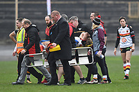 Picture by Anna Gowthorpe/SWpix.com - 15/04/2018 - Rugby League - Womens Super League - Bradford Bulls v Leeds Rhinos - Coral Windows Stadium, Bradford, England - Bradford Bulls' Amy Hardcastle leaves the pitch on a stretcher after being injured