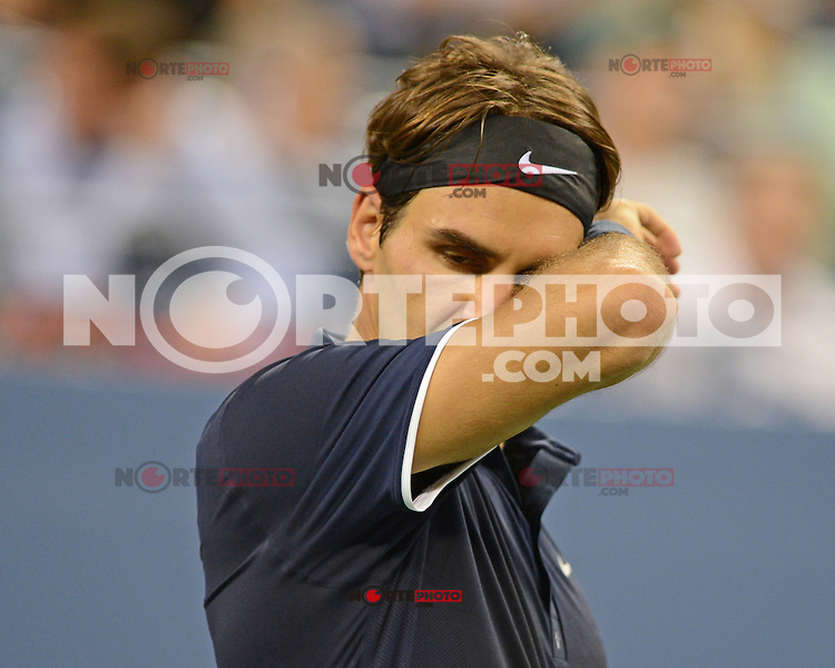 FLUSHING NY- SEPTEMBER 5: Roger Federer Vs Tomas Berdych on Armstrong stadium at the USTA Billie Jean King National Tennis Center on September 5, 2012 in in Flushing Queens. Credit: mpi04/MediaPunch Inc. ***NO NY NEWSPAPERS*** /NortePhoto.com<br /> <br /> **CREDITO*OBLIGATORIO** *No*Venta*A*Terceros*<br /> *No*Sale*So*third* ***No*Se*Permite*Hacer...<br /> more »