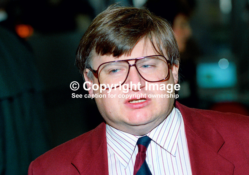 Ian McCartney, MP, Makerfield, Labour Party, UK, 199309305.<br /> <br /> Copyright Image from Victor Patterson, 54 Dorchester Park, <br /> Belfast, UK, BT9 6RJ<br /> <br /> t1: +44 28 9066 1296 (from Rep of Ireland 048 9066 1296)<br /> t2: +44 28 9002 2446 (from Rep of Ireland 048 9002 2446)<br /> m: +44 7802 353836<br /> <br /> e: victorpatterson@me.com<br /> www.victorpatterson.com<br /> <br /> Please see my Terms and Conditions of Use at www.victorpatterson.com. It is IMPORTANT that you familiarise yourself with them.<br /> <br /> Images used on the Internet must be visibly watermarked i.e. &copy; Victor Patterson<br /> within the body of the image and copyright metadata must not be deleted. Images <br /> used on the Internet have a size restriction of 4kbs and will be chargeable at current<br />  NUJ rates unless agreed otherwise.<br /> <br /> This image is only available for the use of the download recipient i.e. television station, newspaper, magazine, book publisher, etc, and must not be passed on to any third <br /> party. It is also downloaded on condition that each and every usage is notified within 7 days to victorpatterson@me.com<br /> <br /> The right of Victor Patterson to be identified as the author is asserted in accordance with The Copyright Designs And Patents Act (1988). All moral rights are asserted
