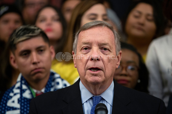 United States Senator Dick Durbin (Republican of Illinois), joined by Democratic lawmakers, speaks during a press conference on the Deferred Action for Childhood Arrivals program on Capitol Hill in Washington D.C., U.S. on Tuesday, November 12, 2019.  The Supreme Court is currently hearing a case that will determine the legality and future of the DACA program.  <br /> <br /> Credit: Stefani Reynolds / CNP /MediaPunch