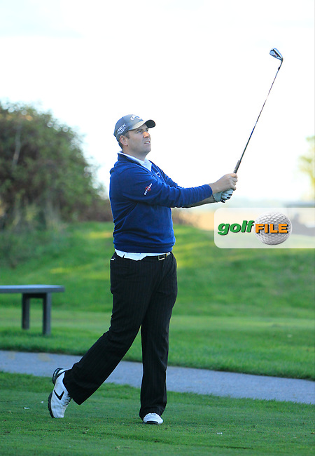 Ronan Collins (Callaway Golf Europe) on the 9th tee during Round 1 of The Cassidy Golf 103rd Irish PGA Championship in Roganstown Golf Club on Thursday 10th October 2013.<br /> Picture:  Thos Caffrey / www.golffile.ie