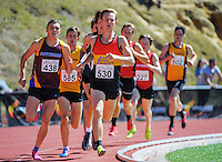 Jacob Priddey (530) leads the junior men's 1500m final on day three of the 2015 National Track and Field Championships at Newtown Park, Wellington, New Zealand on Sunday, 8 March 2015. Photo: Dave Lintott / lintottphoto.co.nz