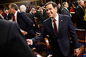 Republican presidential candidate Sen. Marco Rubio, R-Fla., arrives for the State of the Union address to a joint session of Congress on Capitol Hill in Washington, Tuesday, Jan. 12, 2016. <br /> Credit: Evan Vucci / Pool via CNP