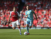 Burnley's Stephen Ward runs away from Arsenal's Henrikh Mkhitaryan<br /> <br /> Photographer Rob Newell/CameraSport<br /> <br /> The Premier League - Arsenal v Burnley - Sunday 6th May 2018 - The Emirates - London<br /> <br /> World Copyright &copy; 2018 CameraSport. All rights reserved. 43 Linden Ave. Countesthorpe. Leicester. England. LE8 5PG - Tel: +44 (0) 116 277 4147 - admin@camerasport.com - www.camerasport.com