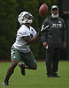 Brisly Estime #3, New York Jets wide receiver, fields a punt during the first day of offseason training activity at the Atlantic Health Jets Training Center in Florham Park, NJ on Tuesday, May 23, 2017.