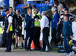 St Johnstone v Aberdeen....18.08.12   SPL.Steve Lomas and Craig Brown shake hands at full time.Picture by Graeme Hart..Copyright Perthshire Picture Agency.Tel: 01738 623350  Mobile: 07990 594431