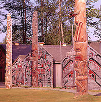 Ksan Historical Village and Museum in Hazelton, Northern BC, British Columbia, Canada - Replicated Gitxsan (Gitksan aka Tsimshian) First Nations Native Indian Village, Totem Poles and Tribal Plank Houses