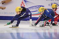 "SHORT TRACK: MOSCOW: Speed Skating Centre ""Krylatskoe"", 14-03-2015, ISU World Short Track Speed Skating Championships 2015, Suk Hee SHIM (#047   KOR), Arianna FONTANA (#031   ITA), ©photo Martin de Jong"