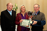 Caroline Connor accepts 1st Prize in the Commercial Category from Sponsor Eddie Tuite and Frank Godfrey at the Christmas Illumination Awards in Westcourt Hotel...Photo NEWSFILE/Jenny Matthews..(Photo credit should read Jenny Matthews/NEWSFILE)