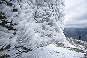 Appalachian Trail - Rime ice covers the summit of Mount Garfield during the winter months in the White Mountains, New Hampshire USA.