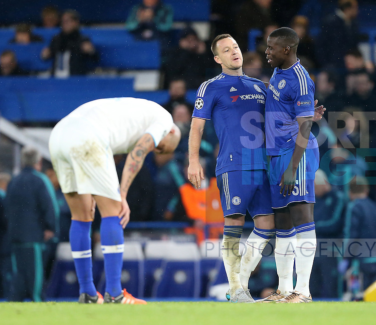 Chelsea's John Terry and Kurt Zouma celebrate at the final whistle<br /> <br /> UEFA Champions League - Chelsea v FC Porto - Stamford Bridge - England - 9th December 2015 - Picture David Klein/Sportimage