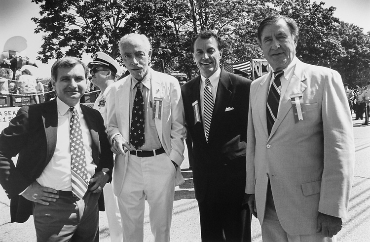 Before the parade in Bristol, Rhode Island, the Rhode Island Congressional Delegation line up for photo. Rep. Tom Reed, R-N.Y., Sen. Claiborne Pell, D-R.I., Rep. Ronald Machtley, R-R.I. and Sen. John Chafee, R-R.I., on July 4, 1994. (Photo by Maureen Keating/CQ Roll Call)