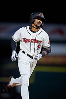 Rochester Red Wings Jaylin Davis (9) rounds the bases after hitting a home run during an International League game against the Scranton/Wilkes-Barre RailRiders on June 24, 2019 at Frontier Field in Rochester, New York.  Rochester defeated Scranton 8-6.  (Mike Janes/Four Seam Images)
