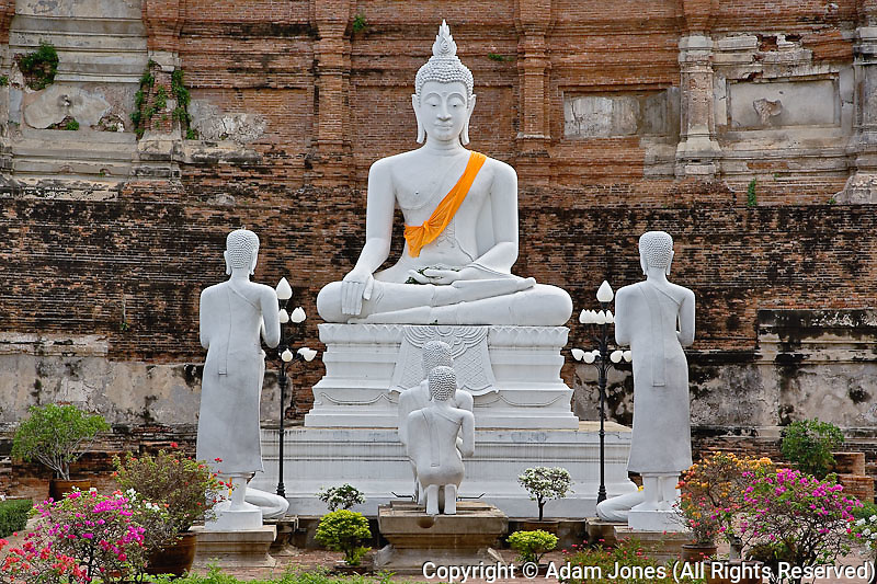 White Buddha, Wat Yai Chaya Mongkol or The Great Temple of Auspicious Victory, Ayutthaya, Thailand