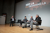 "From left: Occidental College Professor of Practice Christopher Hawthorne, Los Angeles' first-ever chief design officer; Hsinming Fung and Craig Hodgetts, L.A. architects at Mithun | Hodgetts + Fung and Eric Owen Moss, L.A. architect.<br /> Occidental College's 3rd LA (Re)Designing LA series continues in the Ahmanson Auditorium at The Museum of Contemporary Art (MOCA) on March 27, 2019. Hosted by Oxy Professor of Practice and Chief Design Officer for the City of Los Angeles Christopher Hawthorne, guest speakers and panelists discussed ""Strange Beauty: Making Sense of L.A. Architecture from the 1980s and 1990s.""<br /> 3rd LA is co-sponsored by Occidental, the Mayor's Office and the Los Angeles Department of Cultural Affairs.<br /> (Photo by Marc Campos, Occidental College Photographer)"