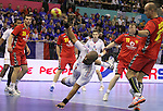 13.01.2013 Granollers, Spain. IHF men's world championship, prelimanary round. Picture show  in action during game between France vs Montengro at Palau d'esports de Granollers