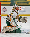 30 November 2018: University of Vermont Catamount Goaltender Melissa Black, a Senior from Newmarket, Ontario, in first period action against the University of Maine Black Bears at Gutterson Fieldhouse in Burlington, Vermont. The Lady Cats were edged out by the Bears 2-1 in the first game of their 2-game Hockey East series. Mandatory Credit: Ed Wolfstein Photo *** RAW (NEF) Image File Available ***