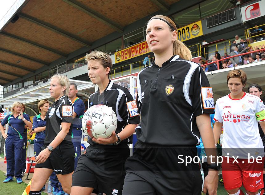 BeNe Supercup 2012 ; Standard Femina De Liege - Ado Den Haag : Anne Cheron , Virginie Derouaux en .foto DAVID CATRY / Vrouwenteam.be