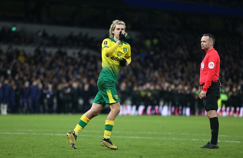 Norwich City's Todd Cantwell celebrates after scoring his penalty during the shoot-out<br /> <br /> Photographer Rob Newell/CameraSport<br /> <br /> The Emirates FA Cup Fifth Round - Tottenham Hotspur v Norwich City - Wednesday 4th March 2020 - Tottenham Hotspur Stadium - London<br />  <br /> World Copyright © 2020 CameraSport. All rights reserved. 43 Linden Ave. Countesthorpe. Leicester. England. LE8 5PG - Tel: +44 (0) 116 277 4147 - admin@camerasport.com - www.camerasport.com