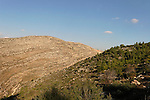 Israel, Jerusalem Mountains. A view of Mount Rafid (left) from Mount Haruach (right)
