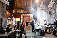La Vucciria market at night in Palermo - popular for it's local street food and bars.