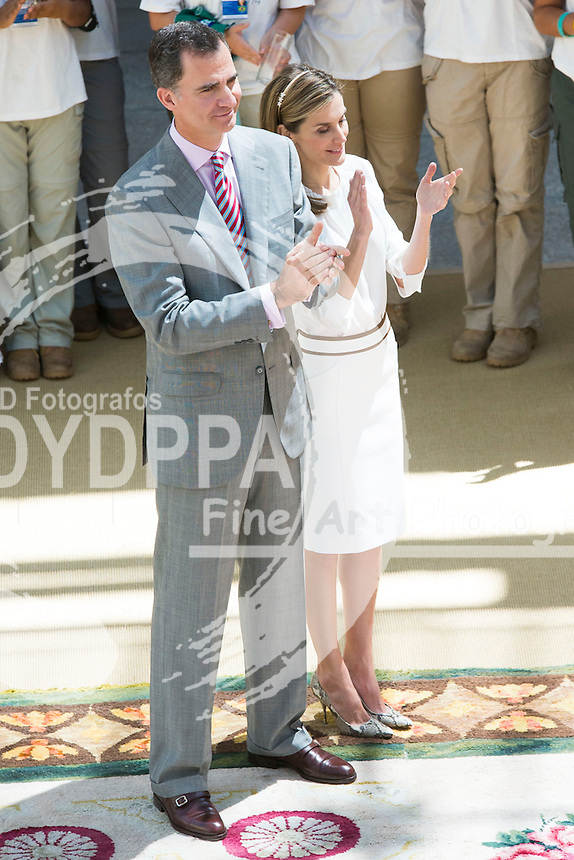 Kings of Spain, Felipe and Letizia,  attend hearing with the young participants in the ´Ruta BBVA 2014´  Cultural Programme and Miguel de la Cuadra Salcedo, in the Pardo Palace, Madrid, Spain. July 21, 2014.  (C) Ivan L. Naughty / DyD Fotografos