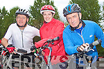 CYCLING FUN: The Psychiatric Nurses of the KGH enjoying a fun time at the Chain Gang Challenge at the CBS the Green, Tralee on Saturday l-r: Jim Adams, Angela Murphy and Liam Marley.