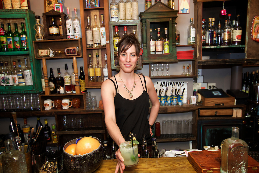 Brooklyn, NY - March 7, 2016: Ivy Mix, partner and mixologist at Leyenda in Carroll Gardens.<br /> <br /> CREDIT: Clay Williams for Food Republic<br /> <br /> &copy; Clay Williams / claywilliamsphoto.com