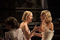 Oscar&reg; nominees Saoirse Ronan and Margot Robbie during the live ABC Telecast of the 90th Oscars&reg; at the Dolby&reg; Theatre in Hollywood, CA on Sunday, March 4, 2018.<br /> *Editorial Use Only*<br /> CAP/PLF/AMPAS<br /> Supplied by Capital Pictures