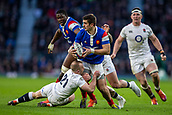 10th February 2019, Twickenham Stadium, London, England; Guinness Six Nations Rugby, England versus France; Thomas Ramos of France is tackled by Dan Robson of England