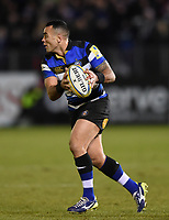 Kahn Fotuali'i of Bath Rugby in possession. Aviva Premiership match, between Bath Rugby and Northampton Saints on February 9, 2018 at the Recreation Ground in Bath, England. Photo by: Patrick Khachfe / Onside Images