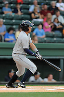 Outfielder Michael O'Neill (10) of the Charleston RiverDogs in a game against the Greenville Drive on Wednesday, June 11, 2014, at Fluor Field at the West End in Greenville, South Carolina. Greenville won, 6-3. (Tom Priddy/Four Seam Images)