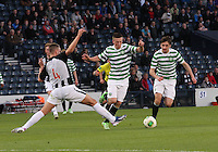 Kerr Young gets  afoot in to stop Callum McGregor with Bahrudin Atajic beside in the Dunfermline Athletic v Celtic Scottish Football Association Youth Cup Final match played at Hampden Park, Glasgow on 1.5.13. ..
