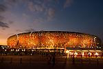 02.07.2010, Soccer City Stadium, Johannesburg, RSA, FIFA WM 2010, Viertelfinale, Uruguay (URU) vs Ghana (GHA) im Bild das Soccer City Stadion in Johannesburg, Feature, von aussen, beleuchtet in der blauen Stunde, EXPA Pictures © 2010, PhotoCredit: EXPA/ Sportida/ Vid Ponikvar, ATTENTION! Slovenia OUT